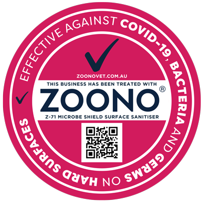 Sticker to show business has been protected with Zoono Microbe Shield Z-71
